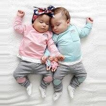 цена на Autumn Newborn Infant Baby Boy Girl T shirt Tops+Pants 2PCS Outfits Clothes Setbaby boys girls suits set clothes for 3-24M Set