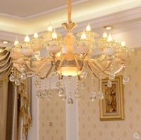 European style chandelier living room luxury zinc alloy jade crystal chandelier bedroom led restaurant lighting simple European