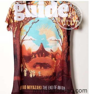 Mulheres camiseta de verão Miyazaki coleção cor impressão personalizada 306 senhora de manga curta T camisa