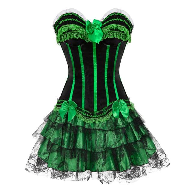 Полоса красный/зеленый корсет и Карнавал платье с бантом оформлен молнии боковой сексуальная showgirl кружева наложение юбка