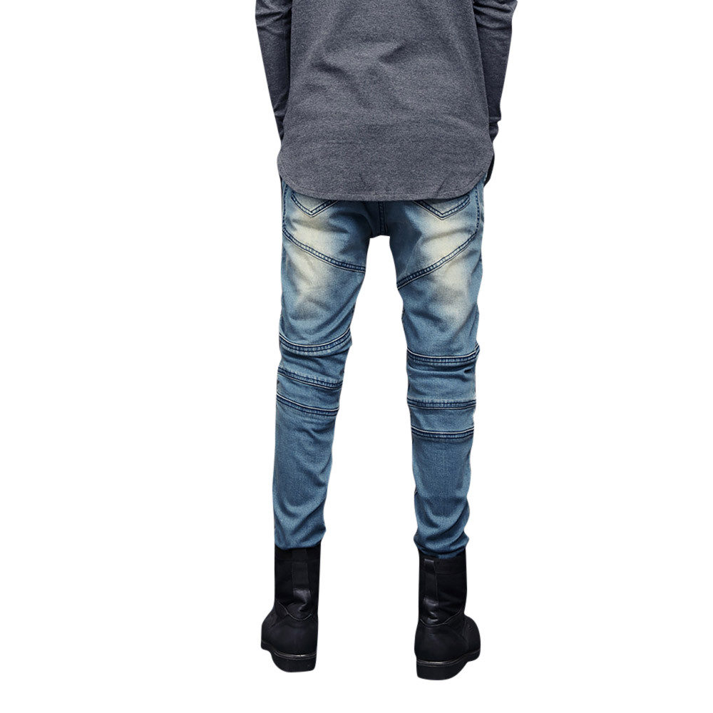0d7a6928d6 2019 New Fashion Mens Skinny Stretch Denim Pants Pleated Ripped ...