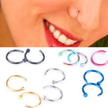 Fashion Medical Stainless Steel Fake Piercing Septum Nose Ring Silver Gold Body Clip Hoop For Women Girls S Jewelry Gift(China)