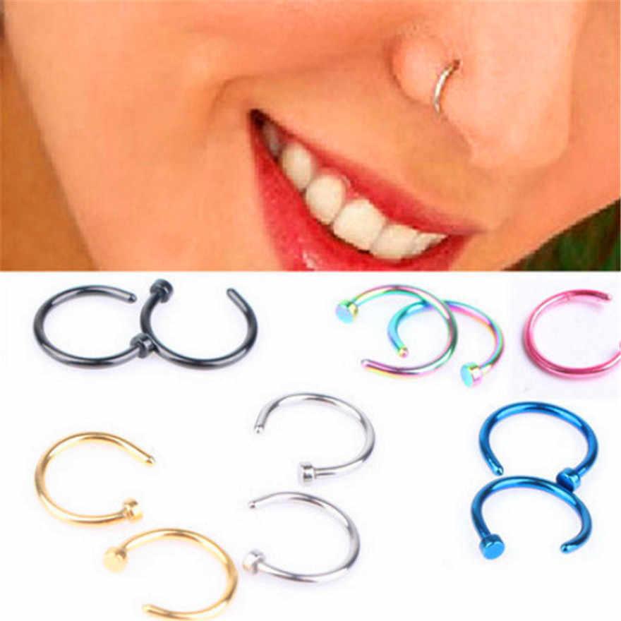 แฟชั่นสแตนเลสทางการแพทย์ปลอม Piercing Septum แหวนจมูกสีทองคลิป Hoop สำหรับผู้หญิงเครื่องประดับของขวัญ