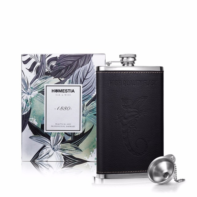 Homestia 10oz Hip Flask Whiskey Flask Stainless Steel and PU leather with Hip flask funnel Barware Drinkware Best Gift