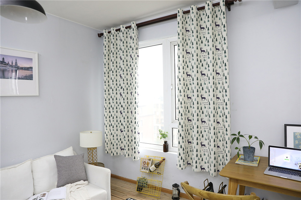 Image 5 - Nodic Style Animal Deer Tree Print Blackout Curtain Solid Cotton Window Curtain for Livingroom Bedroom Home Decoration cortina-in Curtains from Home & Garden
