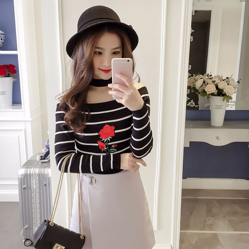 EFINNY Fashion Women Slash Neck Striped T shirt Embroidery Flower Pullovers Slim Long Sleeve Tops