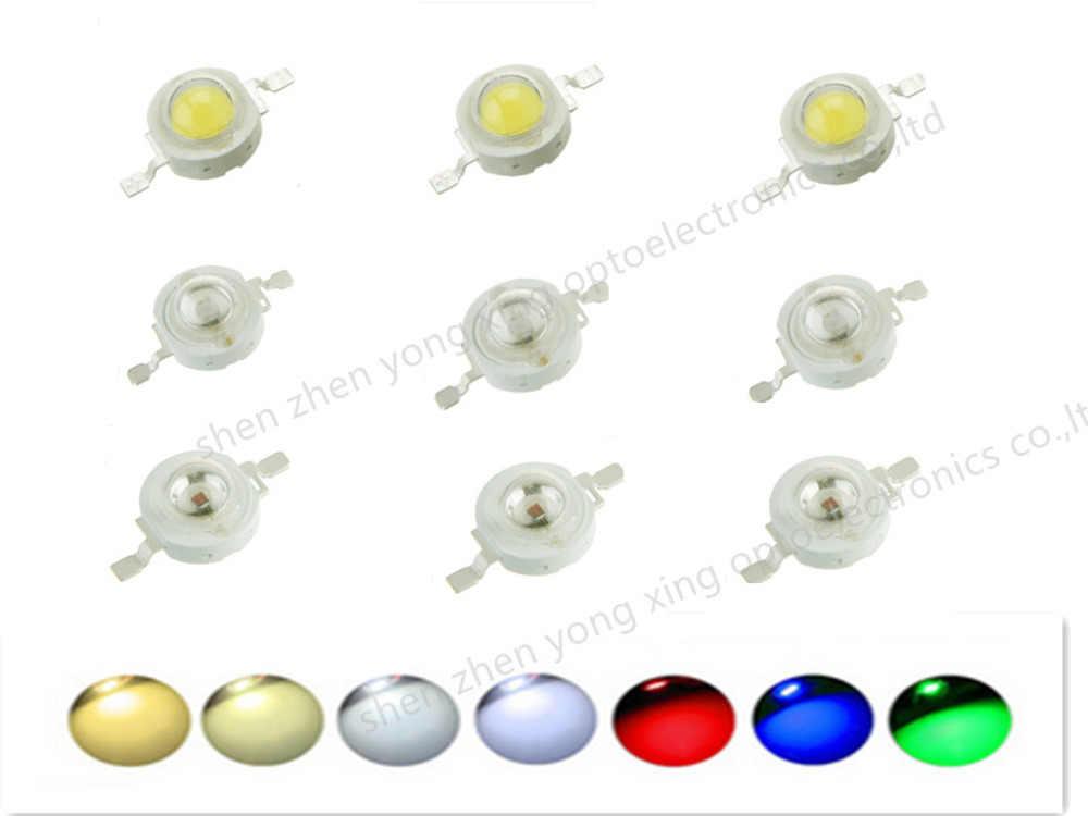 10 Uds. De vatios reales CREE 1W 3W de alta potencia LED Bombilla diodos SMD 110-120LM LEDs Chip para 3 W-18 W luz descendente