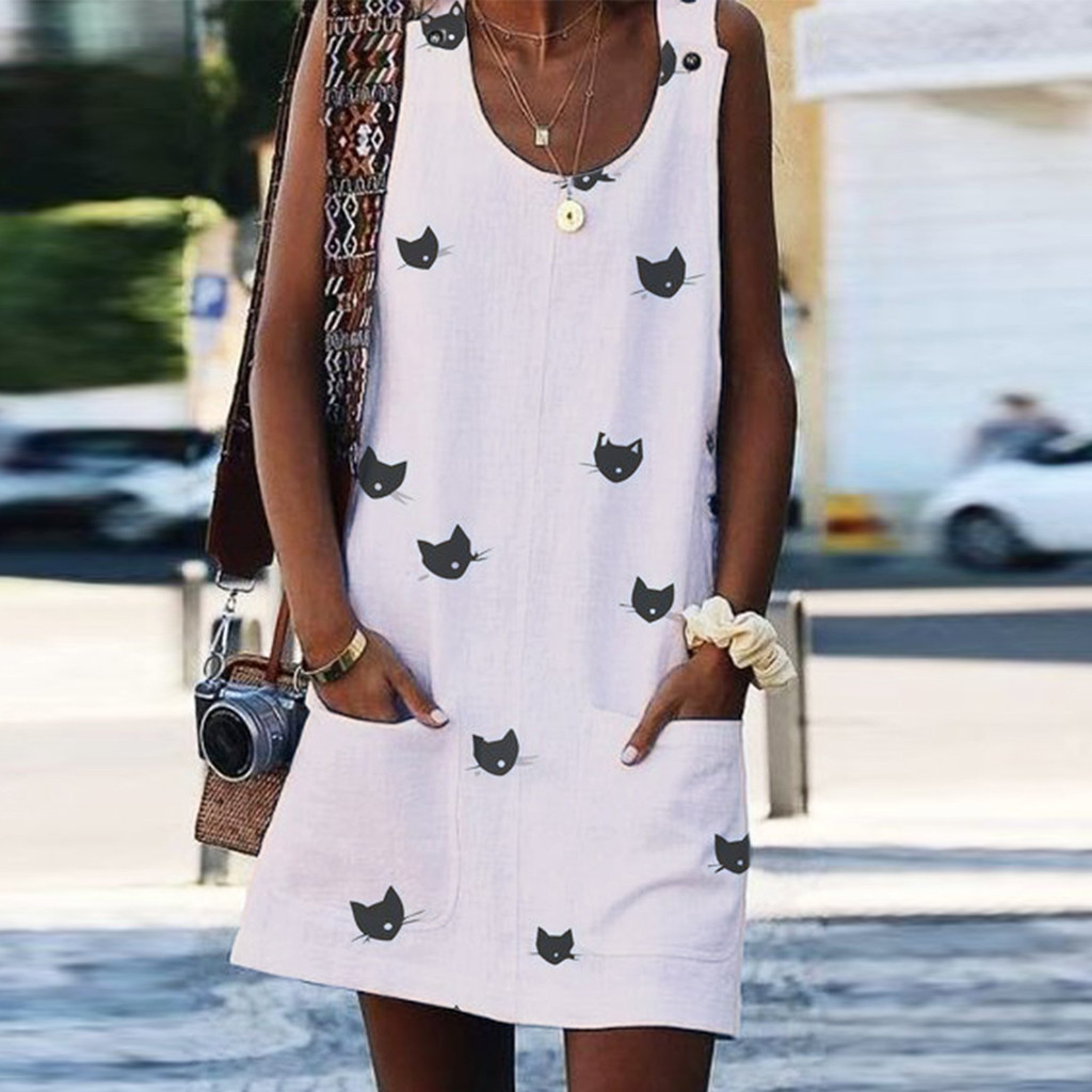 Robe Femme Ete 2019 Women Summer Dress Sleeveles O Neck Print White Dress Pocket Casual Robe Ete Streetwear Robe De Plage image