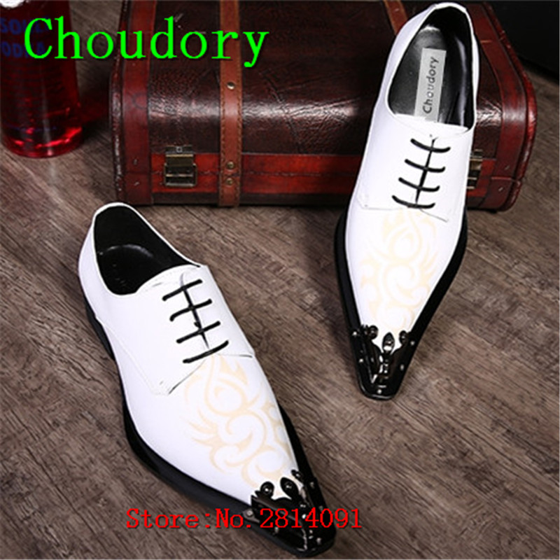 Choudory Breathable Solid Lace-Up Totem Men White Loafers Pointed Toe Genuine Leather Flats New Steel Toe Work Shoes Men Casual