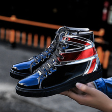 Men Sneakers Silver Glitter Shoes Summer Shinny Bling Fashion Casual Lace Up Outdoor Glossy PU