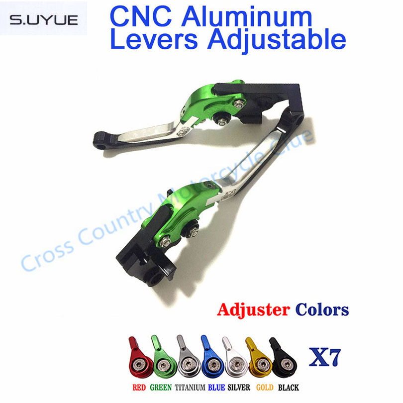 ФОТО S.UYUE Folding Extendable Adjustable CNC Aluminum Brakes Clutch Levers For Kawasaki NINJA 300R 2013 2014 2015 NINJA 250R 08-12