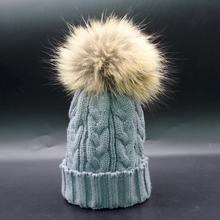 Шапка из искусственного меха с помпонами, зимняя женская шапка, шапка для девочек, вязаная шапка, женский головной убор из плотной ткани высокого качества