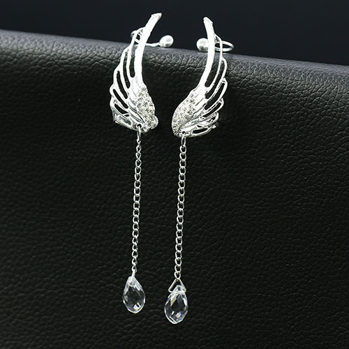 Silver Plated Crystal Chain Angel Wing Dangle Earrings