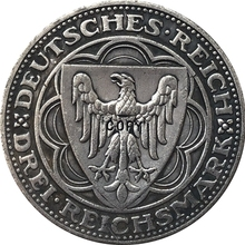 1927 немецкий 3 рейхсмартк(100-летие Бремерхафен-а) копия монет 30 мм