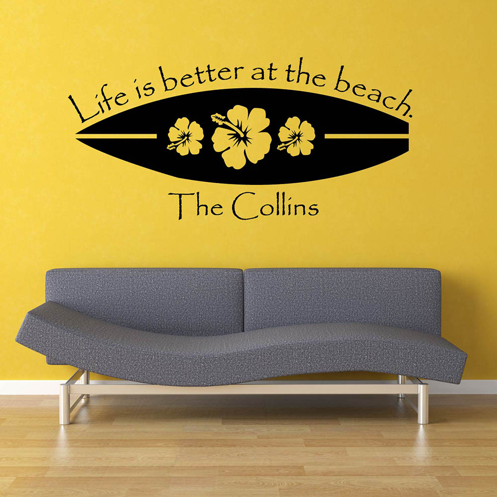 Beach Surfboard Wall Stickers Summer Holiday Vinyl Living Room Wall ...