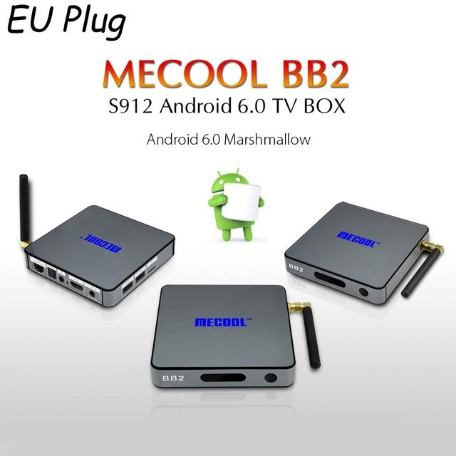[Genuine] S912 MECOOL BB2 Inteligente Android 6.0 TV Box Amlogic Octa Núcleo 4 K x 2 K H.265 Decod 2.4G + 5G Dual Band WiFi Bluetooth TV caixa