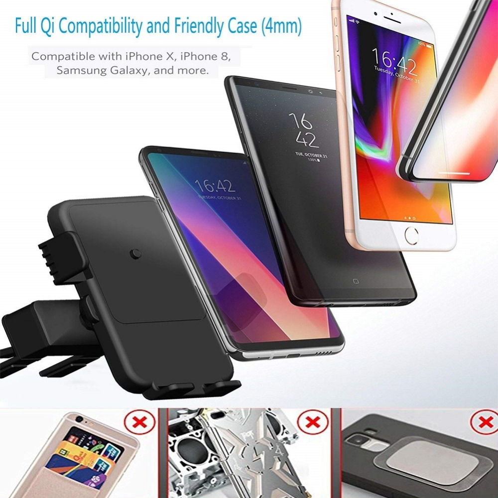 Car CD Slot Wireless Charger Phone Holder for Samsung S10 Plus S10e Huawei P30 CD Mount Universal Fast Charging for iPhone X XS in Phone Holders Stands from Cellphones Telecommunications