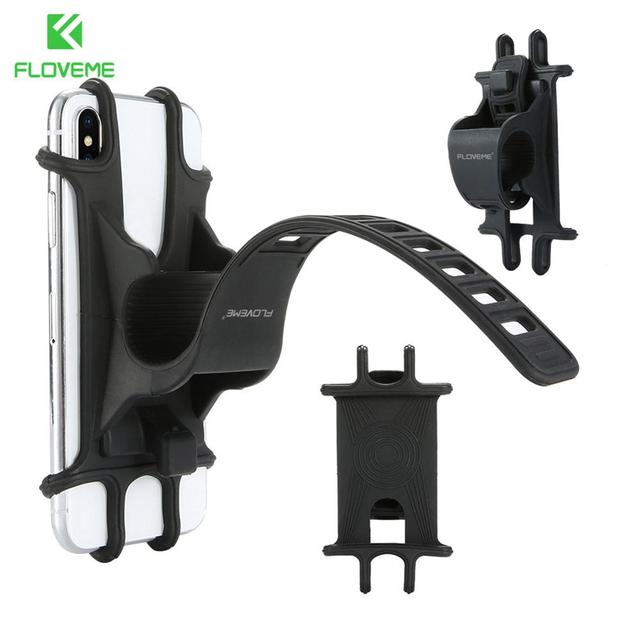 Floveme Universal Bike Motorcycle Mobile Phone Stand Holder Silicone Non-slip Buckle Pull Phone Mount Handlebar Bracket 1PC J2