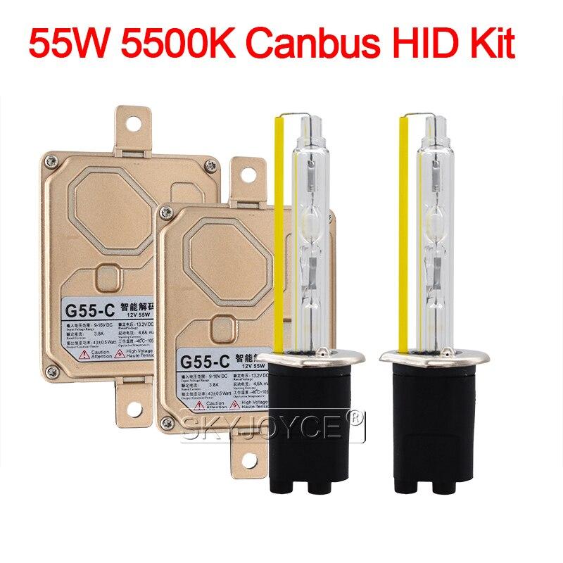 55W Xenon H1 H3 H7 H11 9005 9006 9012 D2H Canbus HID Kit Car Light EMC No Error Canbus HID Ballast 55W 5500K Auto Headlamp Bulb