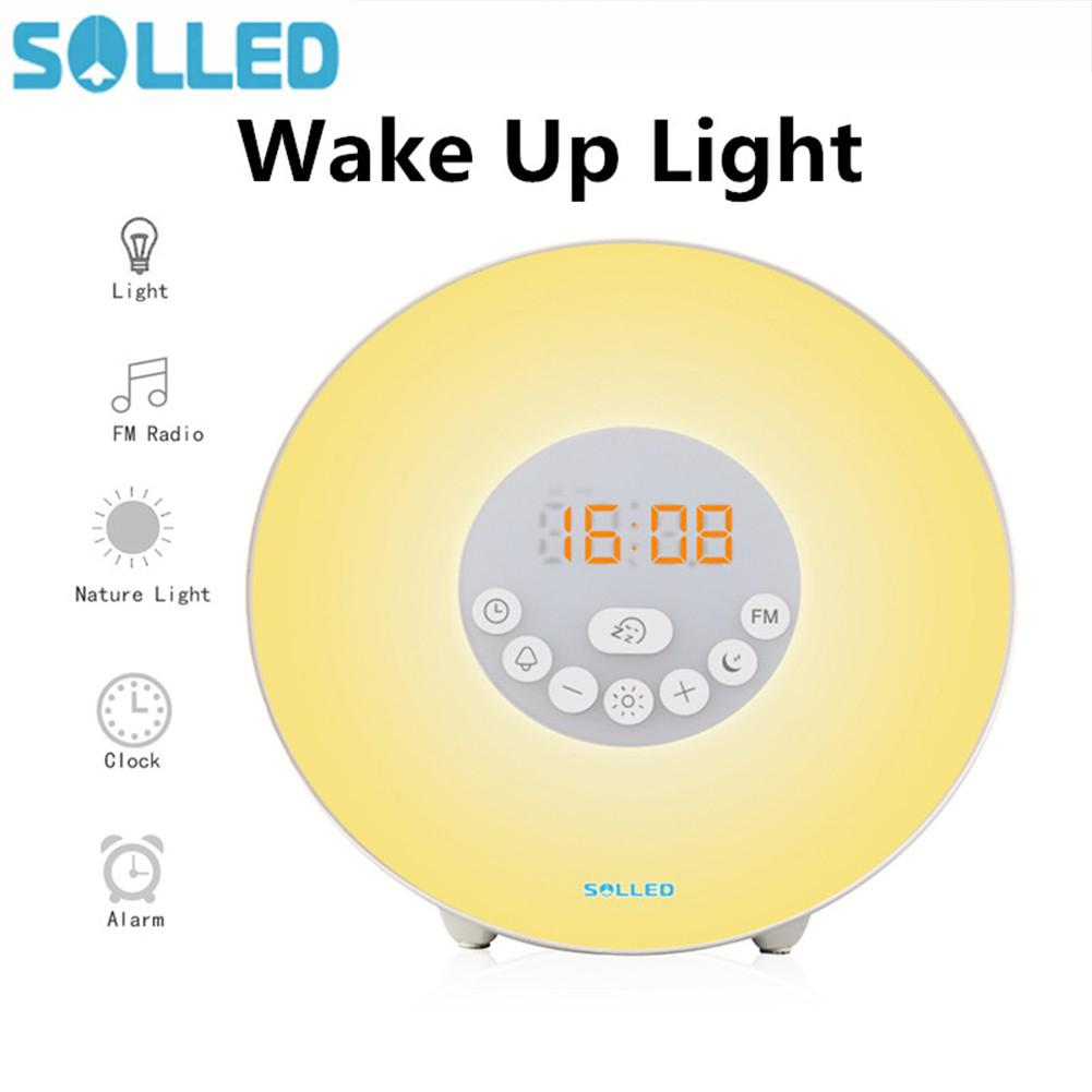 SOLLED Wake Up Light Alarm Clock with Sunrise/Sunset Simulator Dimmable Brightness and Colorful Bedside Lamp Atmosphere Lamp недорого