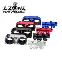 LZONE RACING - Twin Fuel Pump Bracket Billet Aluminium Assembly OUTLET Manifold In Black for 044 fuel pump W/O Logo JR-LD2642