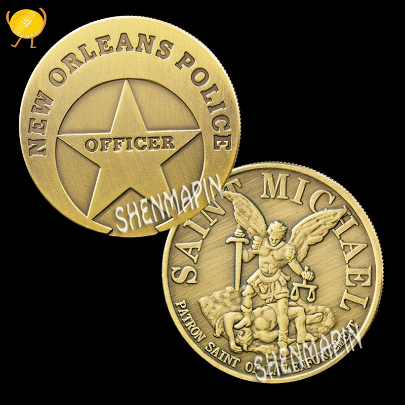 New Orleans Police Officer Commemorative Coin Saint Michael Patron Saint of Law Challenge Coin Honor Medal Coins Collectibles image