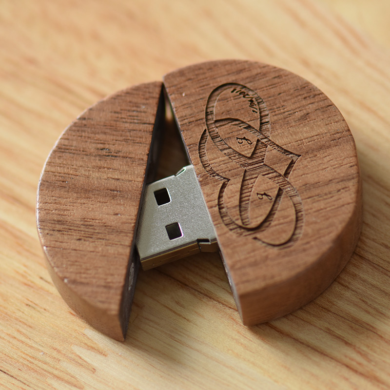 Wooden Pendrive Round 4GB 8GB 16GB 32GB 32GB (free Custom Logo) Usb Flash Drive Memory Stick For Photographer