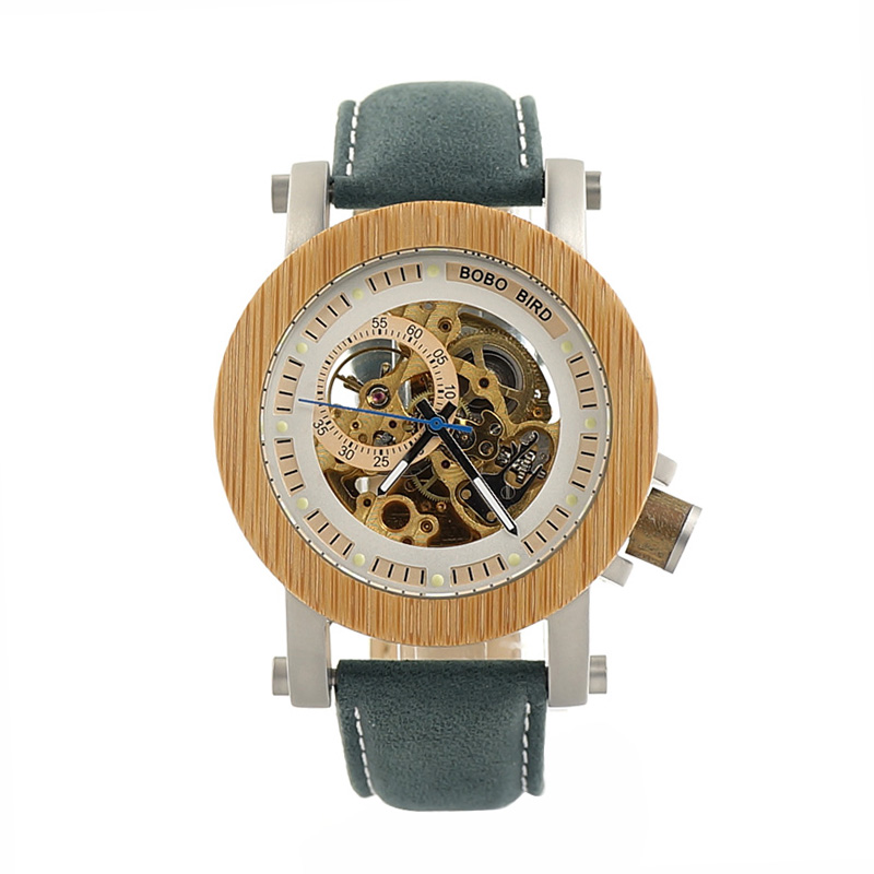 BOBO BIRD Luxury Brand Men Watches Mechanical Watch Green Genuine Leather Wooden Wristwatch relogio masculino B-K13 bobo bird top brand men watch luxury wood watches with genuine leather strap relogio masculino