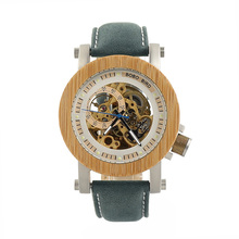 BOBO BIRD Luxury Brand Men Watches Mechanical Watch Green Genuine Leather Wooden Wristwatch relogio masculino B-K13