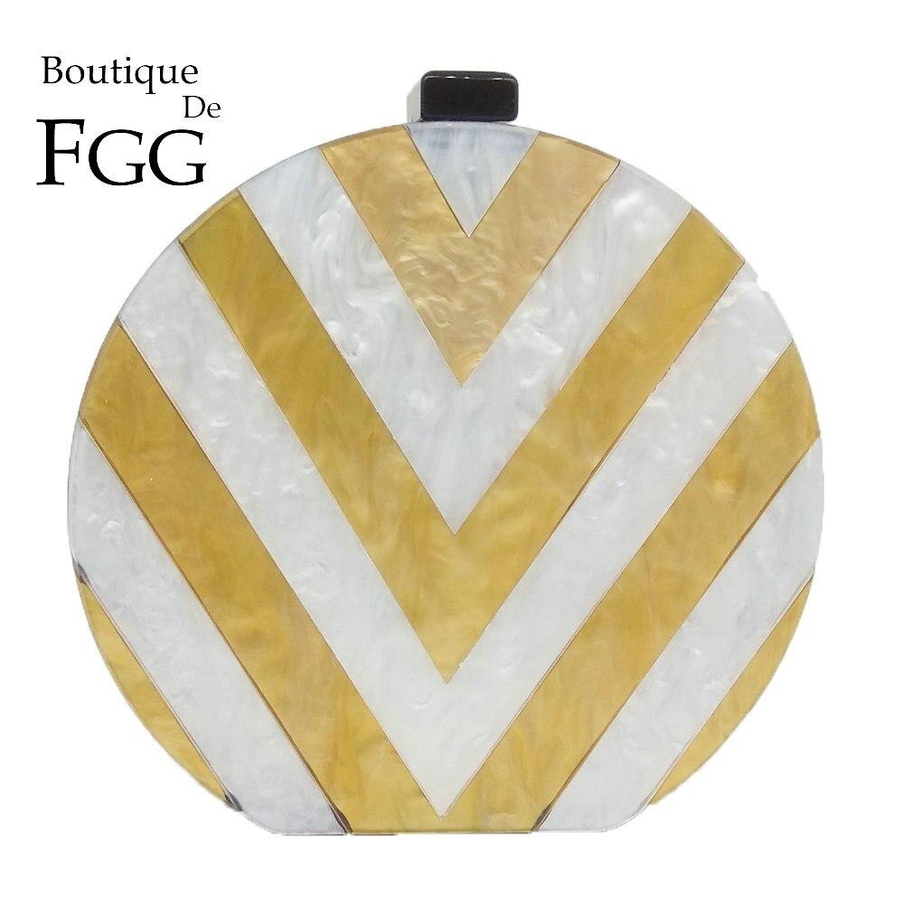 Boutique De FGG Round Women s Fashion Day Clutches Handbag Gold White Striped Acrylic Box Evening