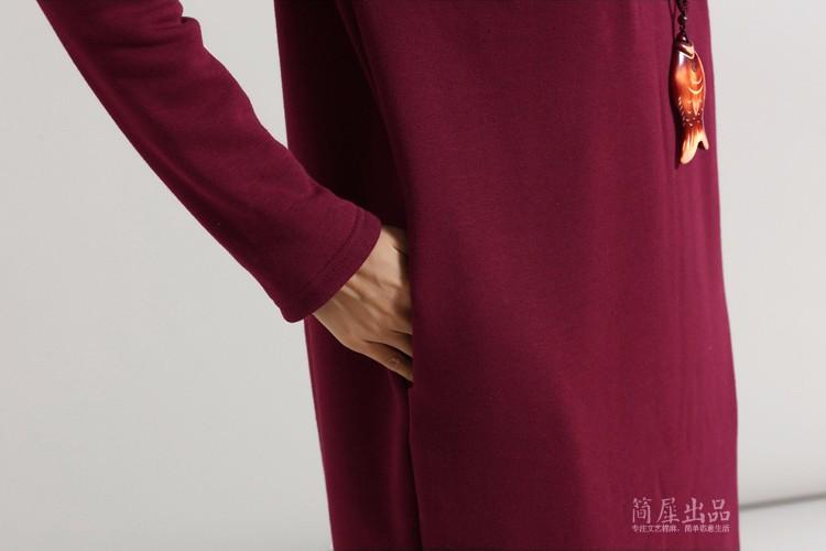 SCUWLINEN Winter Dress 17 Vestido Women Dress Plus Size Velvet Thickening Thermal Basic Dress Long Sleeve Solid Warm Dress S59 26