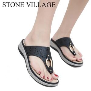 Image 5 - Summer Outdoor Beach Flip Flops Slippers Women Non slip Comfortable Wedges Heels Platform Shoes Female Slipper High Quality