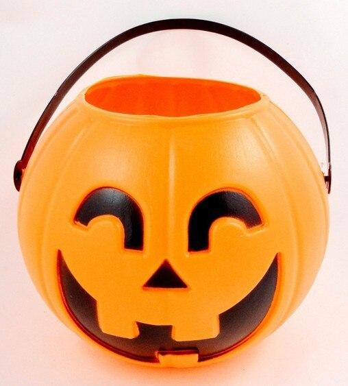 newest portable plastic pumpkin bucket 16cm large pumpkin barrels halloween candy jar halloween party supplies - Large Plastic Pumpkins