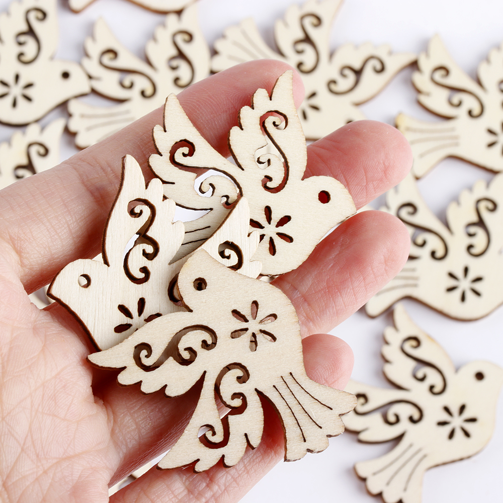 Hot 10/20Pcs Laser Cut Wood Scrapbooking Unfinished Peace Pigeon Embellishment Wooden Birds Handcrafts Party Wedding Decoration