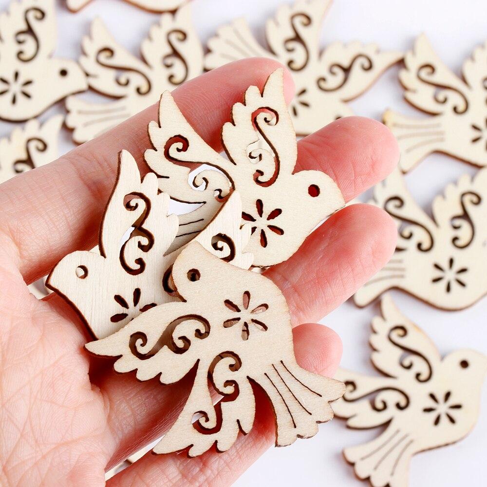 Hot 10/20pcs Laser Cut Wood Scrapbooking Unfinished Peace Pigeon Embellishment Wooden Birds Handcrafts Party Wedding Decoration