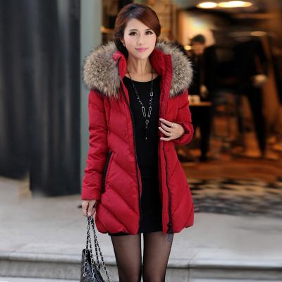 Invierno libre del envío más tamaño chaqueta de algodón acolchado ropa 2016 medio-largo cuello de Piel con capucha wadded prendas de vestir exteriores 100 kg