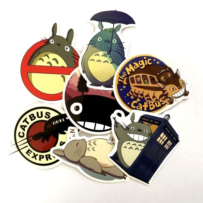 7 Pcs/set Cartoon Totoro Sticker Skateboard Sticker Laptop Snowboard Car Fridge Surf Vinyl Decal 2019