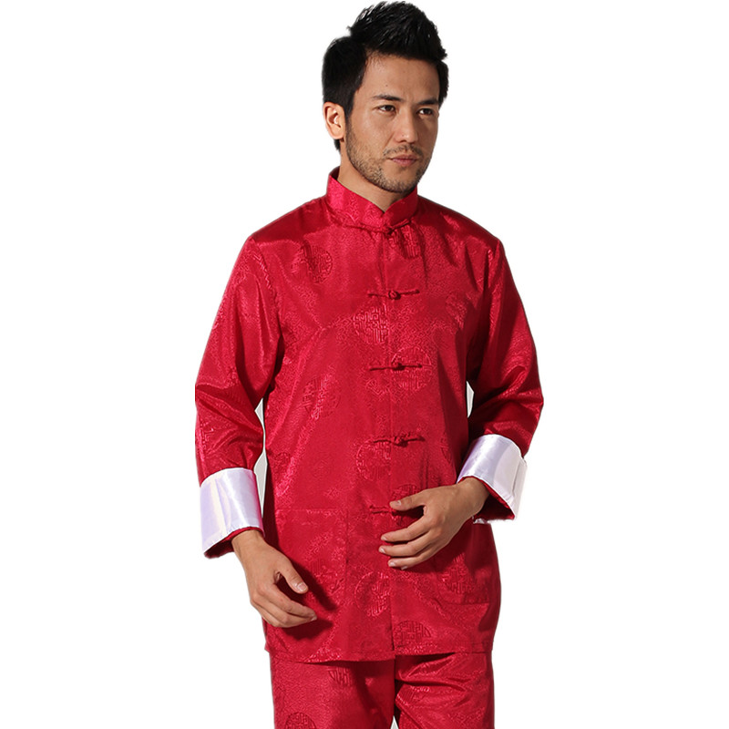 New Chinese Traditional font b Men s b font Satin Rayon Kung Fu Suit Vintage Long