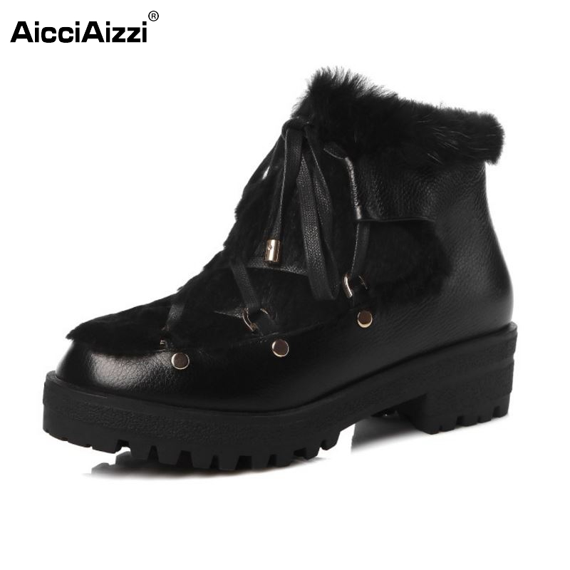 Women Brand New Real Genuine Leather Ankle Boots Woman Lace Up Fur Winter Warm Botas Mujer Square Heel Shoes Size 34-42 bonjomarisa women winter snow ankle boots lace up high heels platform warm fur shoes woman botas mujer big size 34 43