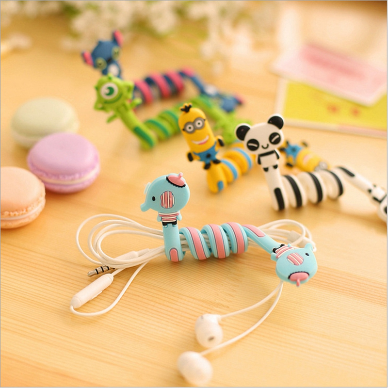 Cute Cartoon Animal Long Cable Winder Headphone Earphone Organizer Wire Holder Stationery Holders