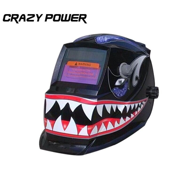 CrazyPower Shark Solar Auto darkening TIG MIG MMA Electric Welding Mask Helmet Welder Cap Lens for Welding Machine  PlasmaCutter  цены