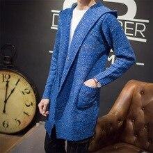 Mens Cashmere Sweater Plus Size Autumn New Slim Fit Cardigan Men Long Simple Turn Down Collar Casual Sweater Men M-XXL 4 Color