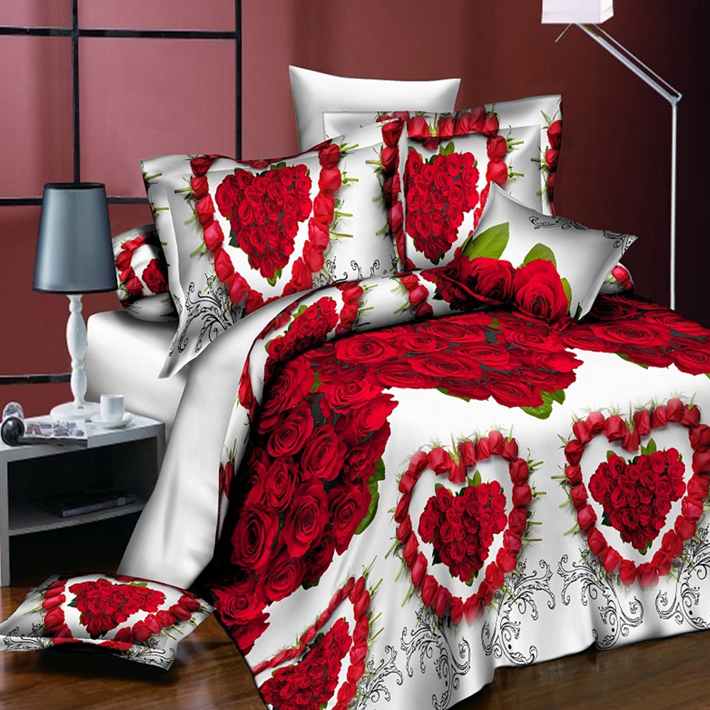 18 New Styles White Red Flower 3D Bedding Set Of Duvet Cover Pillowcase Set Bed Clothes Comforters Cover Queen Twin No Quilt