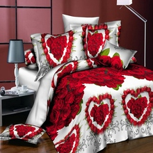 18 New Styles White Red Flower 3D Bedding Set of Duvet Cover Pillowcase Bed Clothes Comforters Queen Twin No Quilt