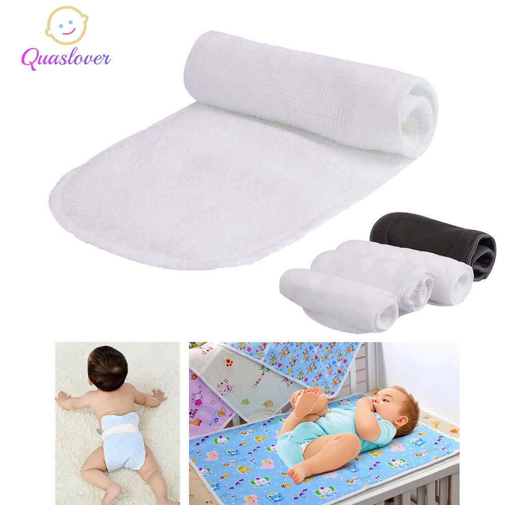Quaslover 1Pcs Reusable Washable Baby Nappies Newborn Infant Cotton Bamboo Charcoal Insert Boosters Liners Cloth Nappy Diaper