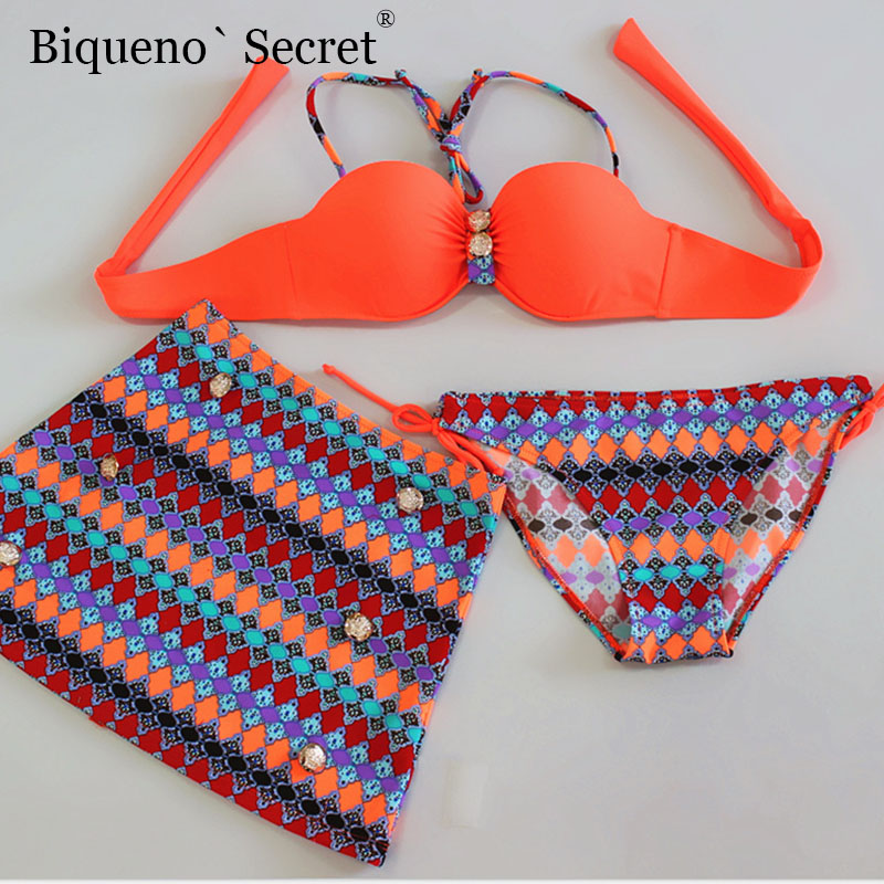 Plus Size Swimsuit Beachwear Women Bandage Underwire <font><b>Bikini</b></font> <font><b>2018</b></font> 3 Piece Skirt <font><b>Bikini</b></font> <font><b>Set</b></font> Biquini <font><b>Sexy</b></font> Push Up <font><b>Swimwear</b></font> Monikini image