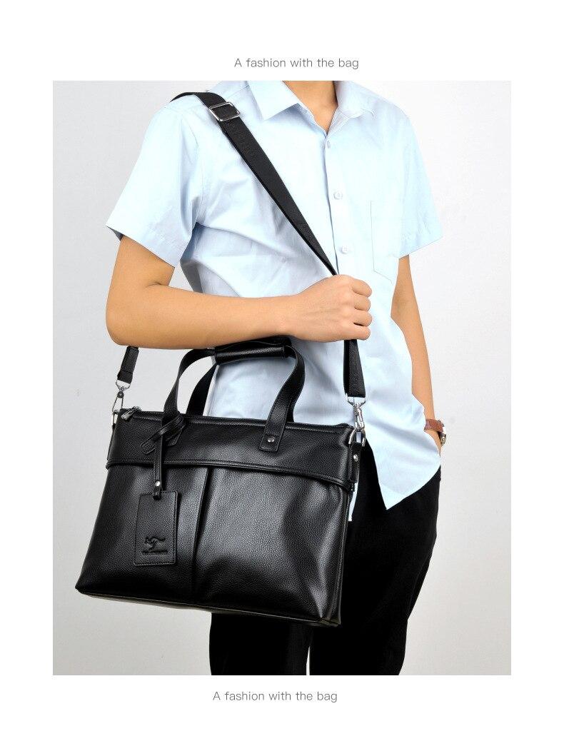 TIANHONGDAISHU Briefcase Male Business Handbag Soft Leather Cross Section Men's Bag Shoulder Messenger Bag Men's Bag