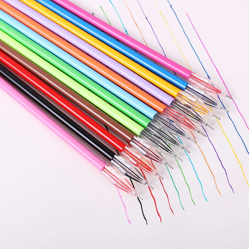 12 PCS/Pack Diamond Head Creative Stationery Candy Color Gel Pen Refills For The Core 0.38mm 12 Color