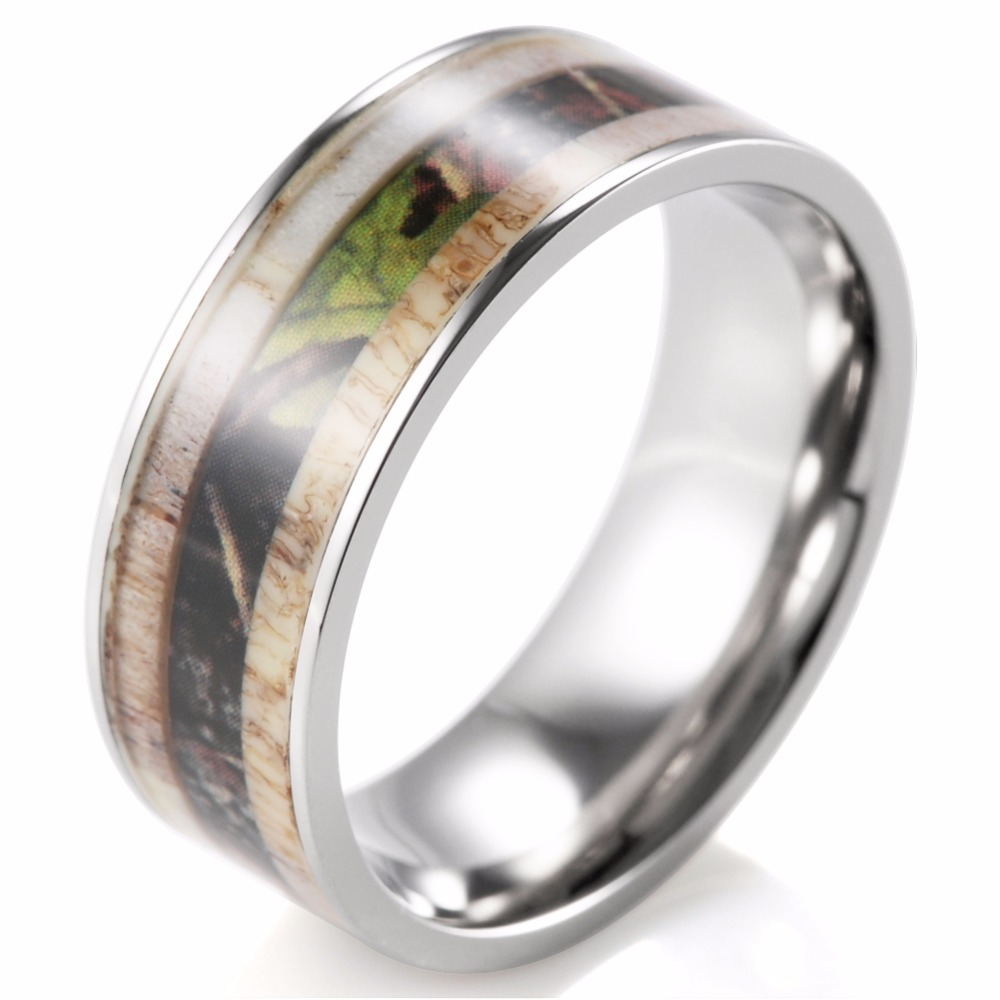 Unique Men's Camo Antler Ring Titanium Outdoor Hunting Ring For Men Male  Jewelry Engagement Wedding Band