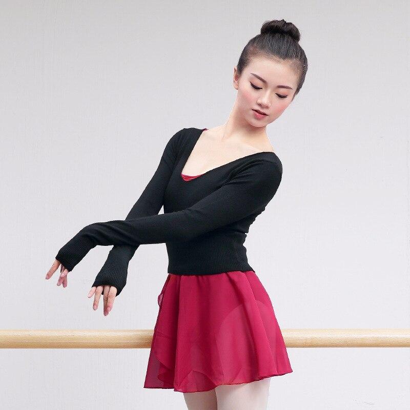 Adults High Waist Gymnastic Leotard Ballet Practice Winter Clothes Long Sleeved Dance Sweater Warm Top Coat Women Dance Clothing